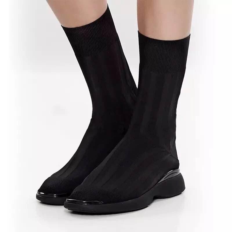 2019 Mode Lapolaka 2018 Groothandel Breien Sok Laarzen Laarzen Vrouwen Schoenen Populaire Runway Show Slip Op Vrouw Laarzen Schoenen