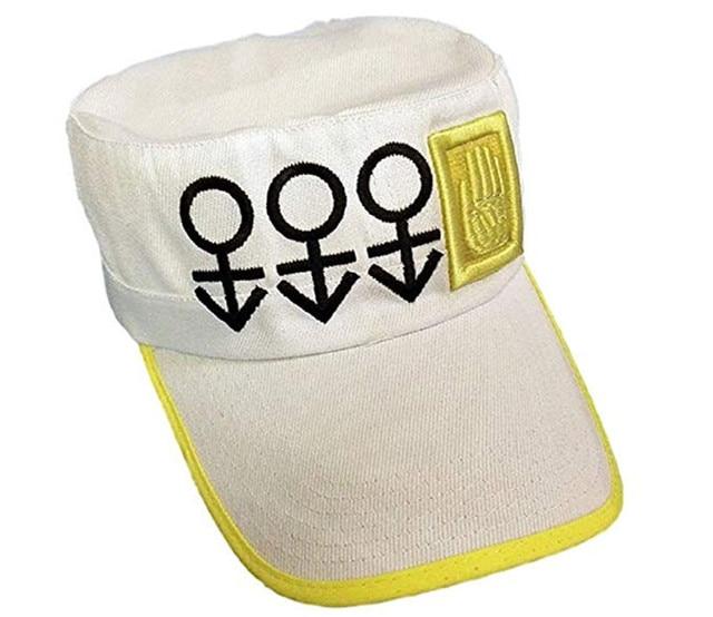 357d0b5671 R$ 74.81 28% de desconto|Bizarre Adventure JoJo Diamante é Inquebrável Kujo  Jotaro Cosplay White Hat Tampão Repicado Chapéu de Beisebol Da Moda ...