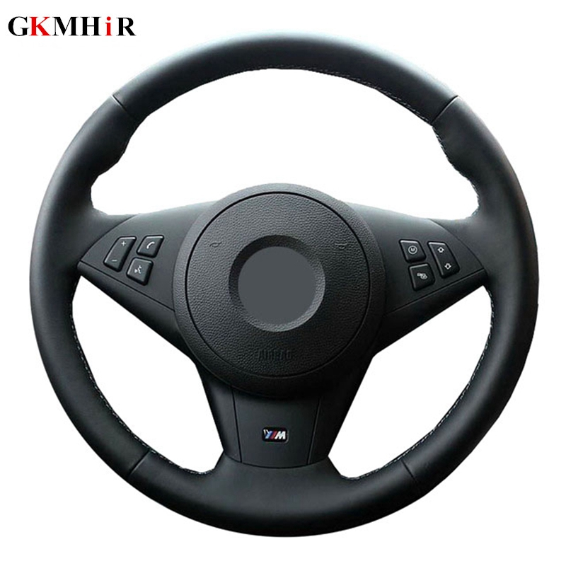 GKMHiR Black Hand sewing Genuine Leather Car Steering Wheel Cover for BMW E60 E63 E64 M5 2005 2007 2008 M6 2007