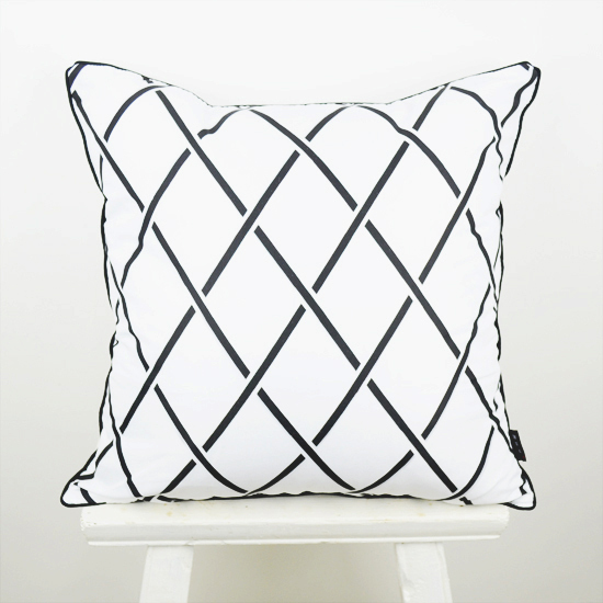 18 * 18 tuuman koristeellinen tyynyliina musta valkoinen abstrakti - Kodintekstiilit