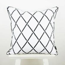18*18 inch Decorative Pillow Case Black White Abstract Geometry Diamond Throw Pillowcase capa de almofada