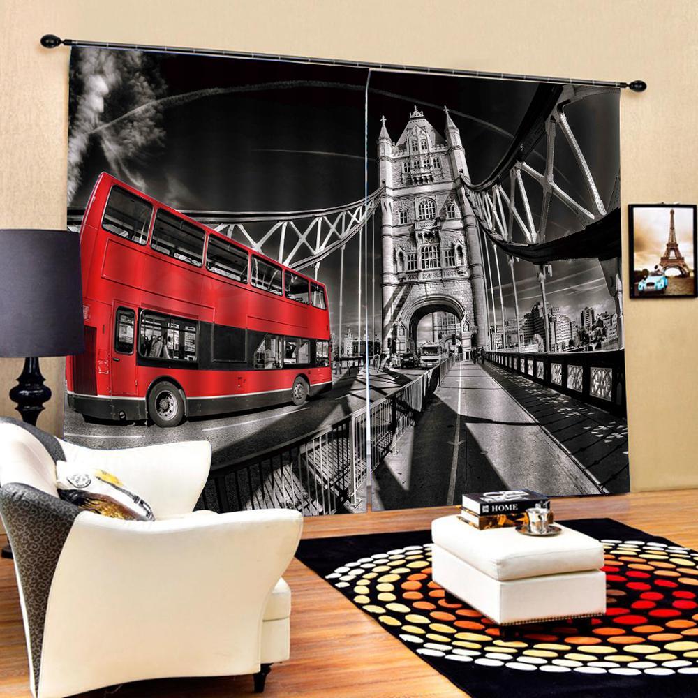 Rideaux Cortinas rideau bureau chambre 3D fenêtre rideau luxe salon décorer Cortina rétro voiture rideau pour chambre
