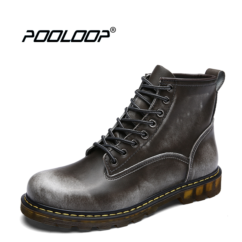 POOLOOP Genuine Leather Men Booties Lace Up Fashion Dr Martin font b Boots b font Waterproof