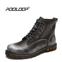 POOLOOP Genuine Leather Men Booties Lace Up Fashion Dr Martin Boots Waterproof Western Boots For Men Casual Ankle Boots Cowboy