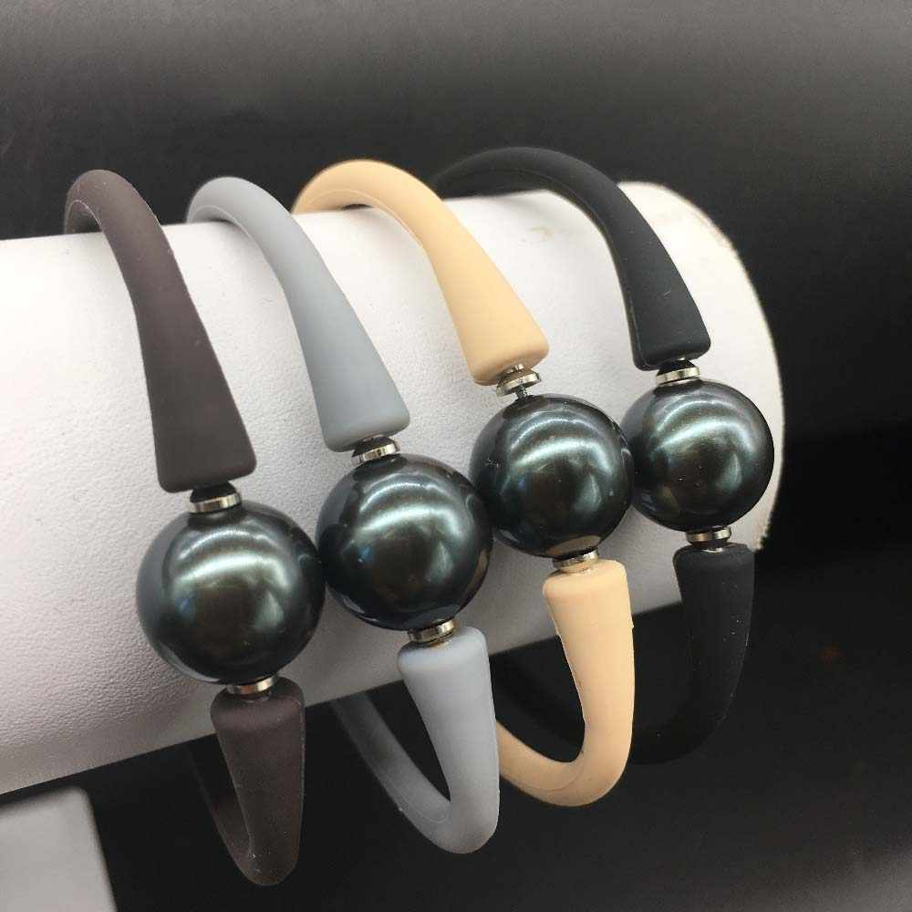 Round Big Tahiti Black Sea Shell Pearl  One Pearl Bracelet Unisex Silicon Rubber Stainless Steel Post Adjustable More Color