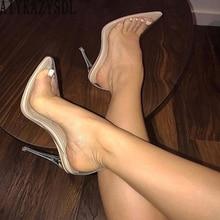 BIGTREE/женские ПВХ Ясный Прозрачный туфли-лодочки; босоножки на тонком каблуке-шпильке с кристаллами; вечерние Клубные туфли-лодочки; большие размеры