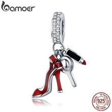 BAMOER 100% 925 Sterling Silver Women Shoes, Mirror Makeup Pendant Charm fit Women Bracelet DIY Jewelry Women Gift SCC457(China)