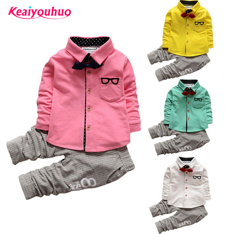 Children Boys Clothes Sets 2017 Autumn Kids Clothes for Boys Gentleman t-shirt +Pants 2 Pcs baby Boys Toddler Suit 1 2 3 4 years