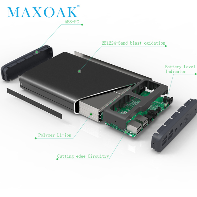 MAXOAK power bank 50000mah 6 output port DC12V/2.5A DC20V/5A notebook power bank can charger laptop, tablet,mobile phone 3