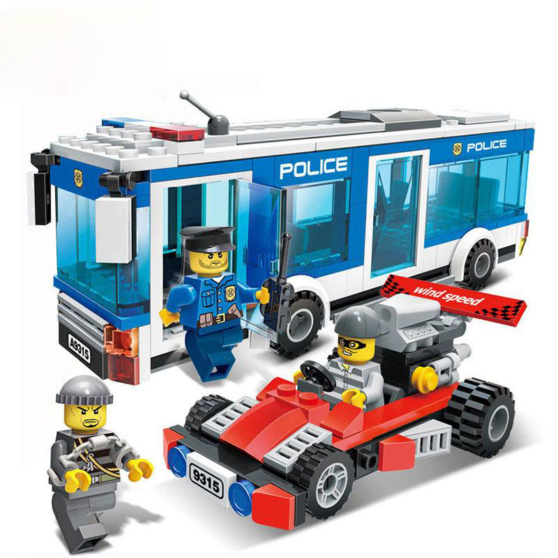 9315 GUDI 256Pcs City Police Station Police Bus Model Building Blocks Enlighten DIY Figure Toys For Children Compatible Legoe 1700 sluban city police speed ship patrol boat model building blocks enlighten action figure toys for children compatible legoe