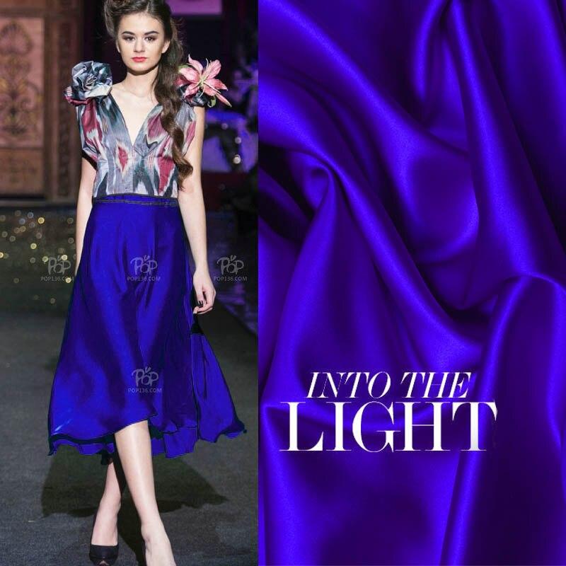 Top combinaison robe pleine soie de mûrier pur bleu marine élastique satin vêtements tissu