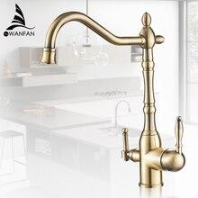 Кухня очищает смесители золотой смеситель холодной и горячей 360 Вращение с очисткой воды Особенности кухонный кран MH-0193