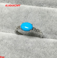 KJJEAXCMY Fine jewelry 925 sterling silver Inlaid natural turquoise ladies ring wholesale