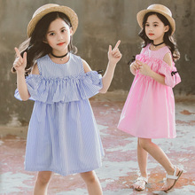 The new summer Korean style of girls chung-tong with vertical stripes and an off-the-shoulder bow dress trend