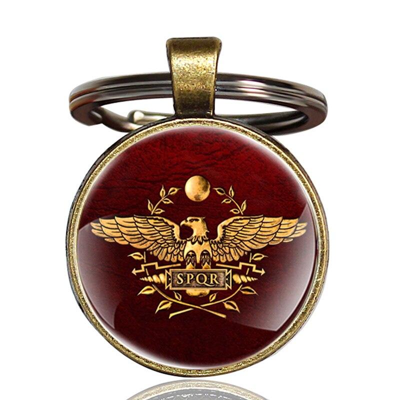 Antique Bronze Roman Legions Key Chain Charm Men Women SPQR Pendant Key rings