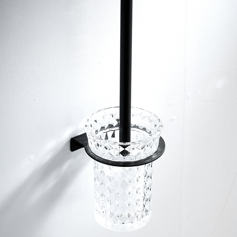 304 Stainless Steel Toilet Brush Holder Black Toilet Brush Wall Mounted Crystal Cup Bathroom Pendants Set Bath Brush Ceramic304 Stainless Steel Toilet Brush Holder Black Toilet Brush Wall Mounted Crystal Cup Bathroom Pendants Set Bath Brush Ceramic