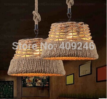 Vintage Edison Loft American Rural Handmade Hemp Rope Chandelier Ceiling Lamp Droplight For Cafe Coffee Shop Bar Club american edison loft industrial vintage edison grid loft ceiling lamp droplight cafe bar club balcony e27 black white iron cage