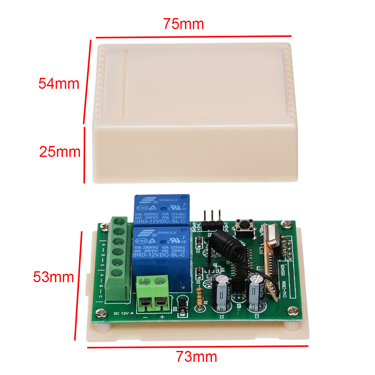 2 CH Garage Door Window Remote Control Switch Relay Normally Open & Closed Wireless Transmitter + Receiver 433MHZ 50m-100m