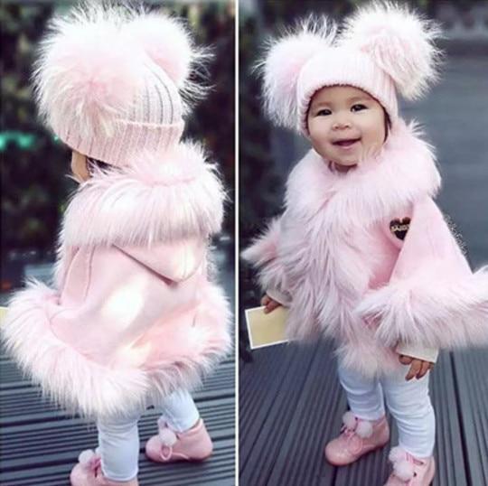 3c0033626e57 Baby Girls Faux Fur Jacket Fashion Hooded Coat Toddler Girls Pink ...