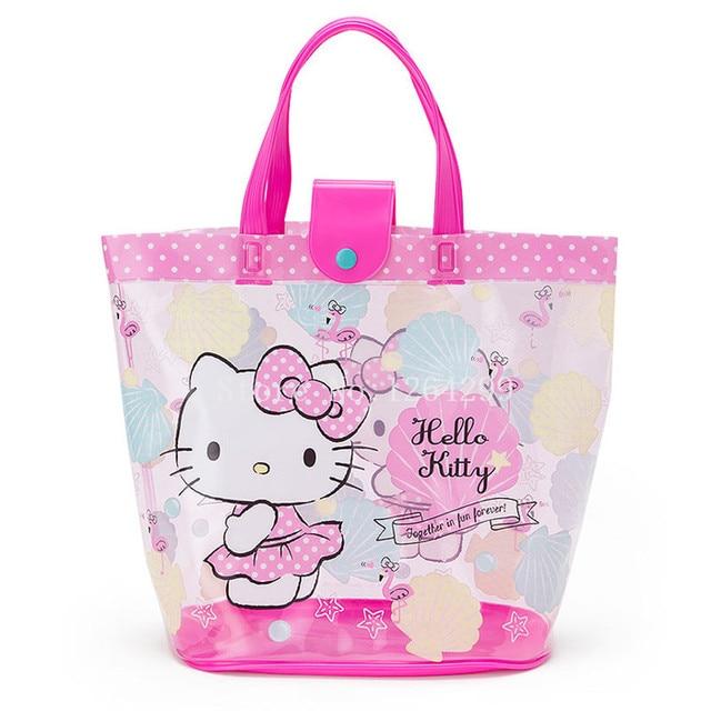 8aa319f5cf New Fashion Hello Kitty Girls Woman PVC Waterproof Transparent Handbags  Kids Shopping Bags For Children