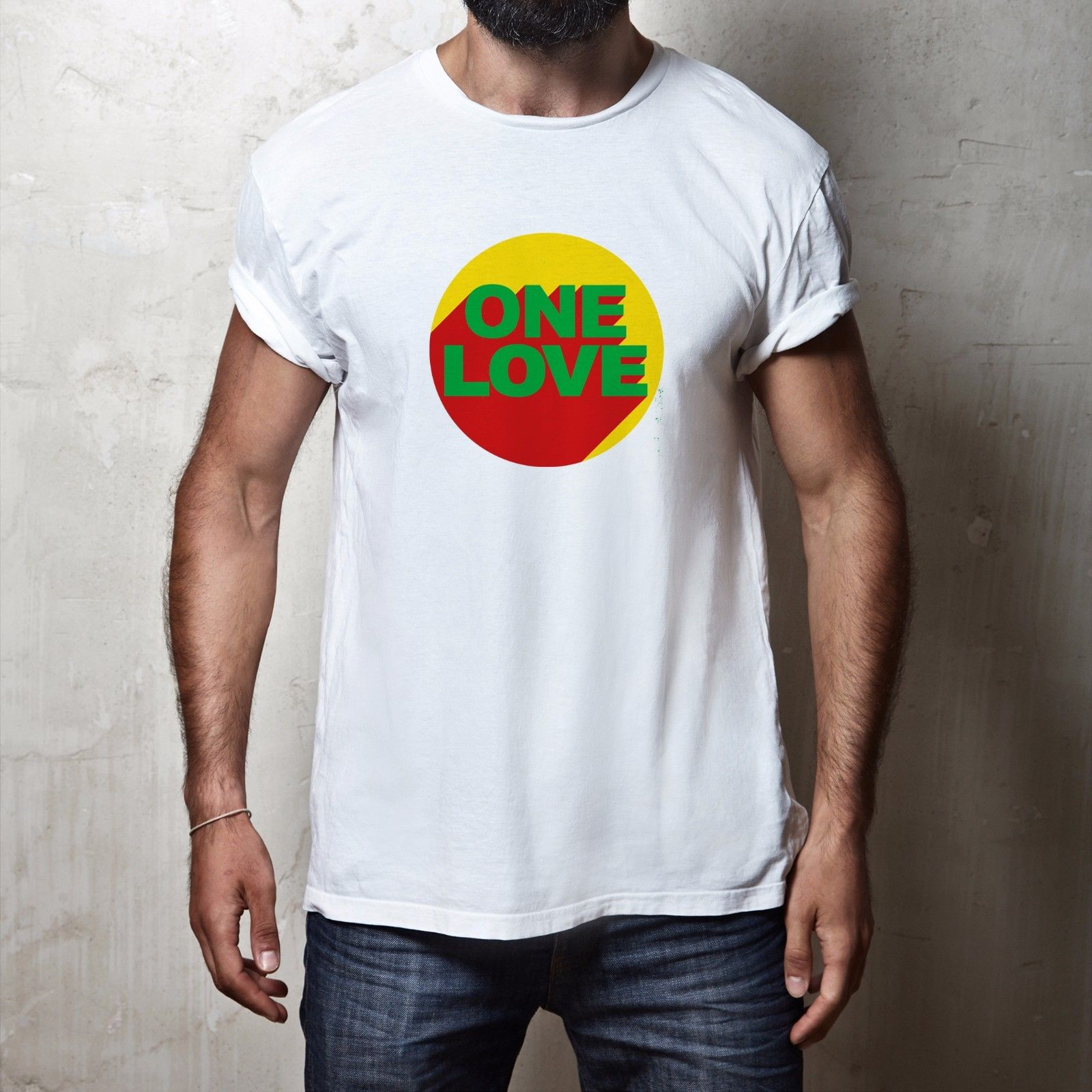 MENS ONE LOVE 100% COTTON REGGAE SKA RASTA HIPPIE PEACE FESTIVAL T SHIRT TEE
