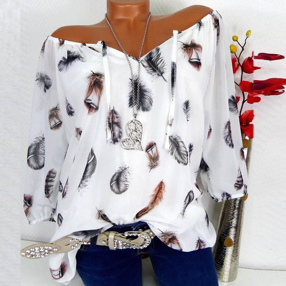 Mode Lässig Frauen Shirts Plus Größe Halb Hülse Feder Print V-ausschnitt Bluse Pullover Tops Shirt blusas mujer de moda 2018 a60