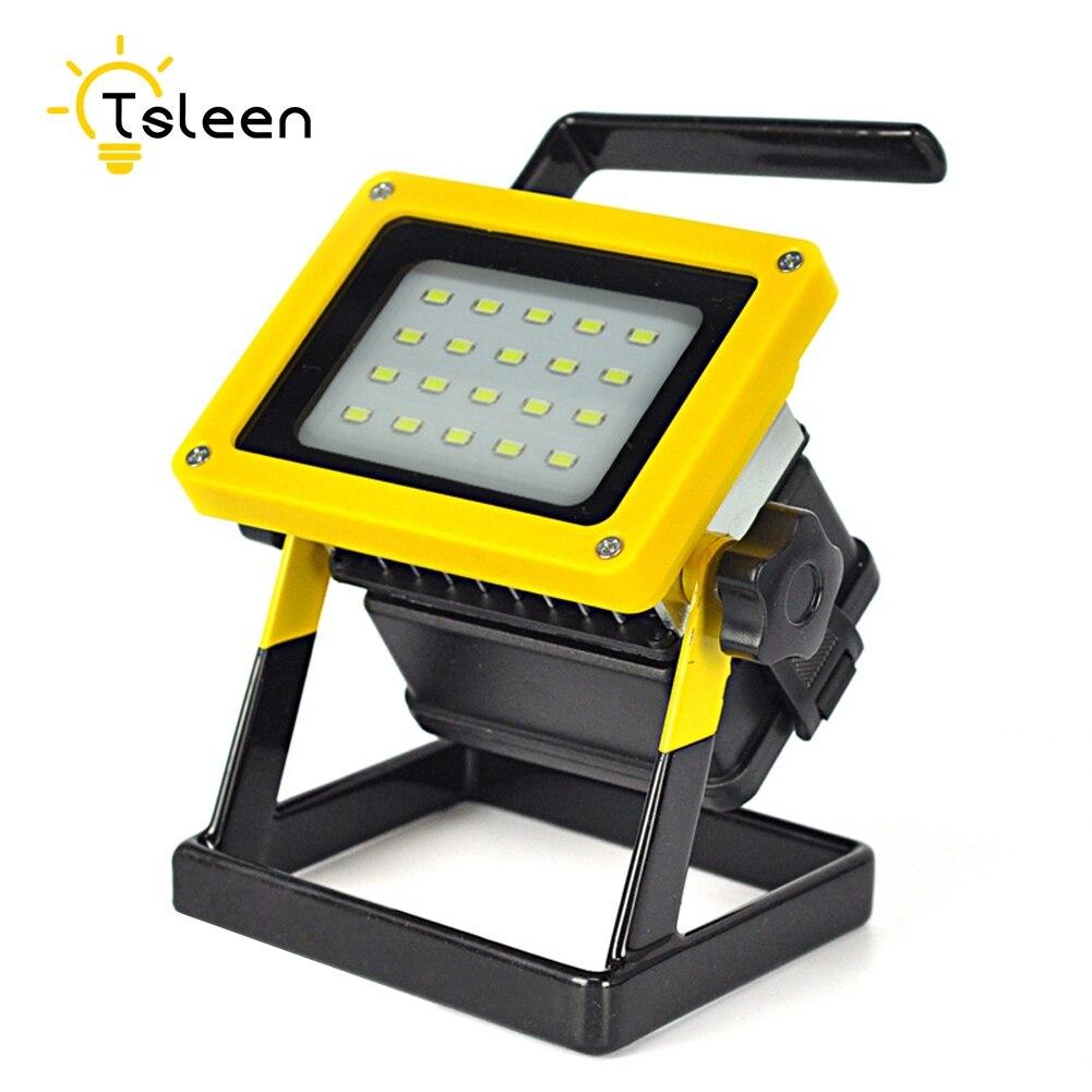 TSLEEN Led Flood Light Rechargeable Led Floodlight Lithium 18650 Battery 20leds flood Lamp Portable Light Ip65 100-240v+Charger