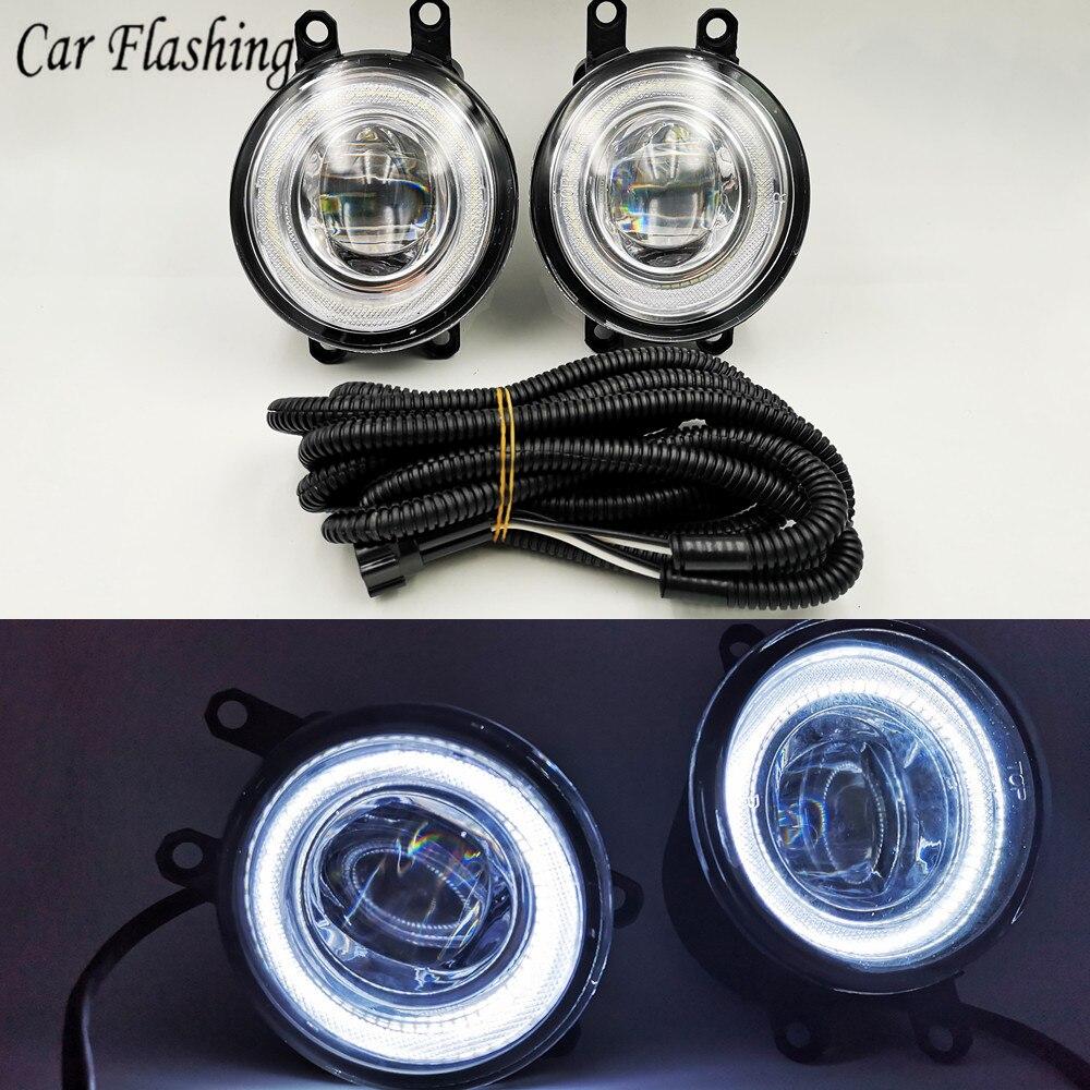 Car Flashing 2Pcs LED Angel Eyes Fog Light Lamp DRL Daytime Running Light Daylight For Toyota