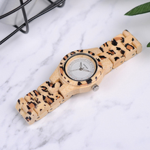 BOBO BIRD P26 Fashion Leopard Print Women Watches Bamboo Texture Rhinestone Wristwatch in Wooden Box