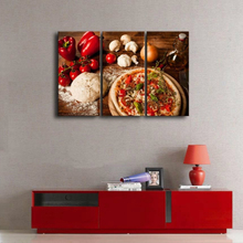 3 Pieces Brown Food Picture Wall Art Pizza Tomato Pepper White Paste Garlic Kitchen Decor Painting Print On Canvas