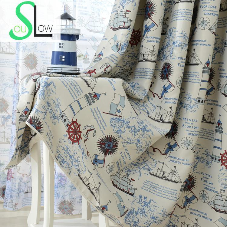 Mediterranean Style Living Room Curtains For Children Cartoon Anchor Print Blackout Curtain Tulle Sheer Cortinas Rideau Voilage