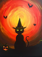 Cat in a Point Cap at Night 5D Diamond Painting Halloween Full Square  Embroidery Sale Mosaic Rhinestones