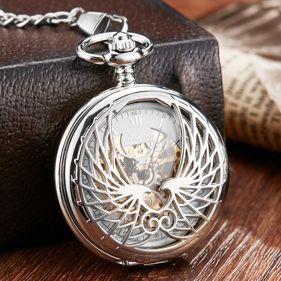 Luxury Mechanical Pocket Watch With Chain Angel Wings Hollow Hand Winding Pendant Clock Men Women Gold Sliver Flip Fob Watches