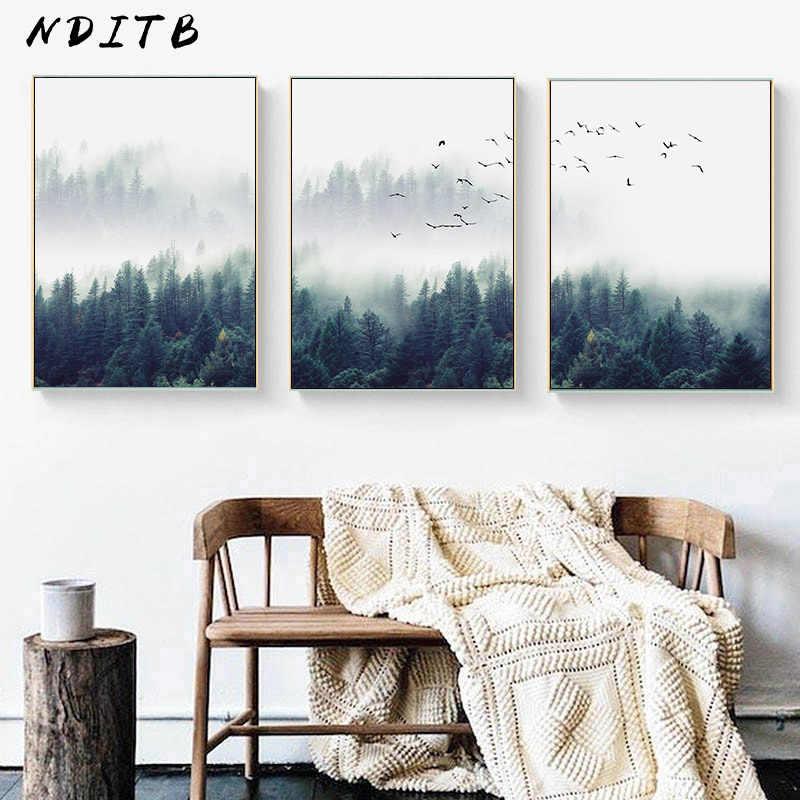 Scandinavian Forest Landscape Wall Poster Nordic Motivational Canvas Art Print