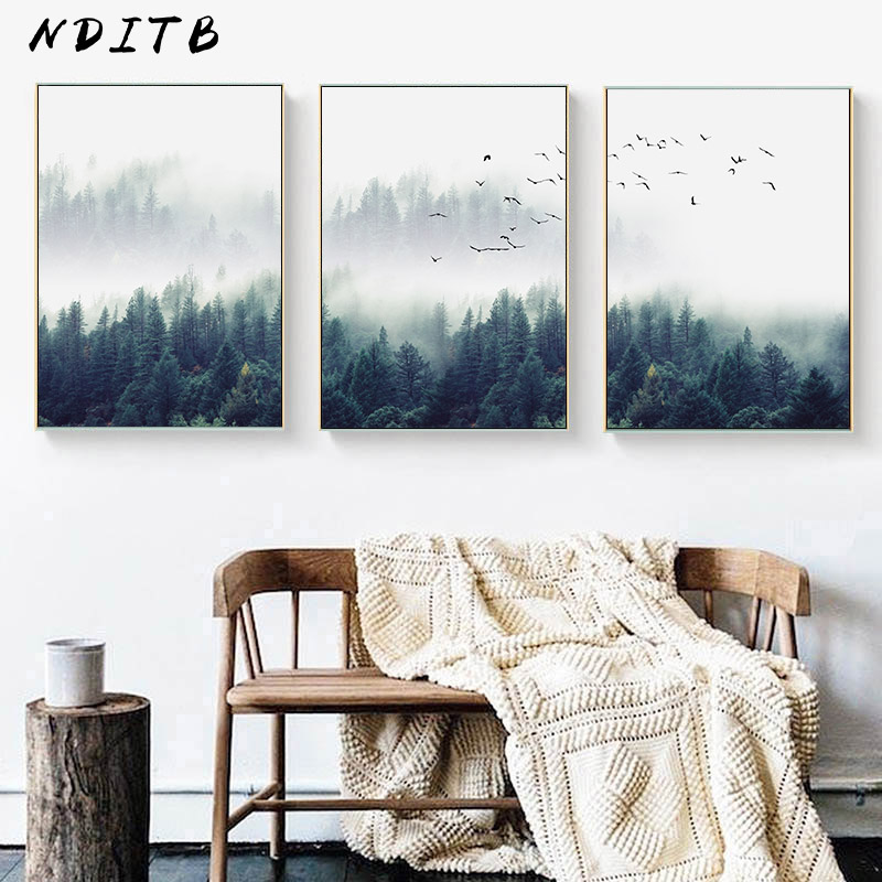 Forest Landscape Art Canvas Poster Nordic Wall Painting Print Nature Decoration Picture For Living Room Scandinavian Home Decor