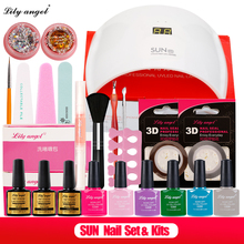 Lily Angel Nail Art Tool Sets Kits 6Color UV Gel Polish Soak Off Base 24W SUN9s Intelligent LED Lamp Top Coat In Set Z25