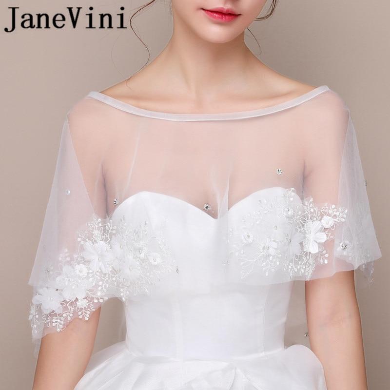 Hochzeit Zubehör Hochzeit Jacken/wrap Weiß Schwarz Frauen Kurze Hülse Shrug Bolero Spitze Hochzeit Braut Cape Jacke Elegante Cape