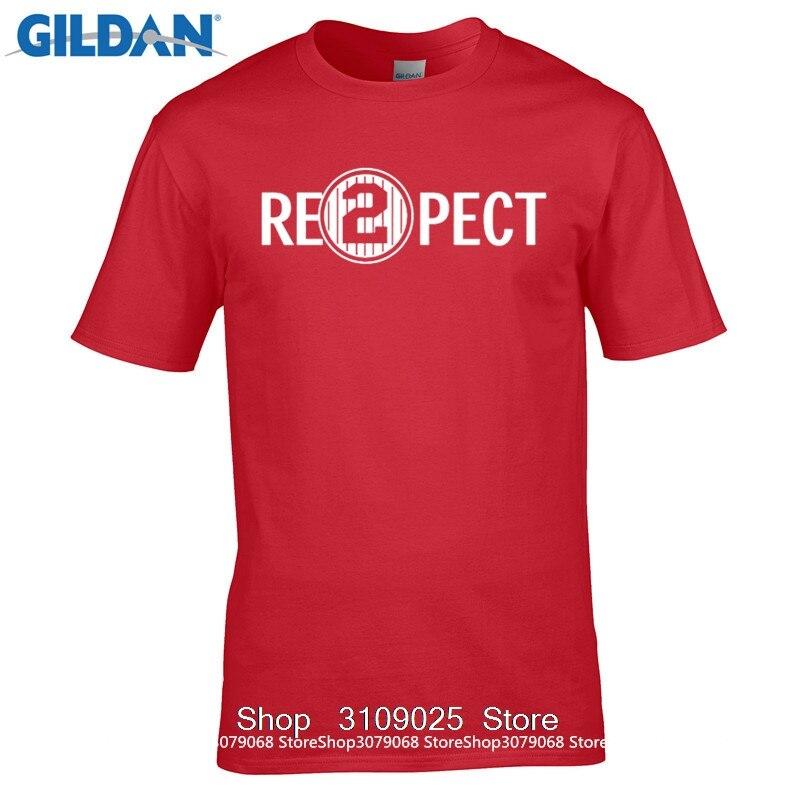 GILDAN DIY Style mens t shirts Quality Print New Summer Style Cotton Respect 2 Re2pect Derek Jeter Captain Ny Yankees ...