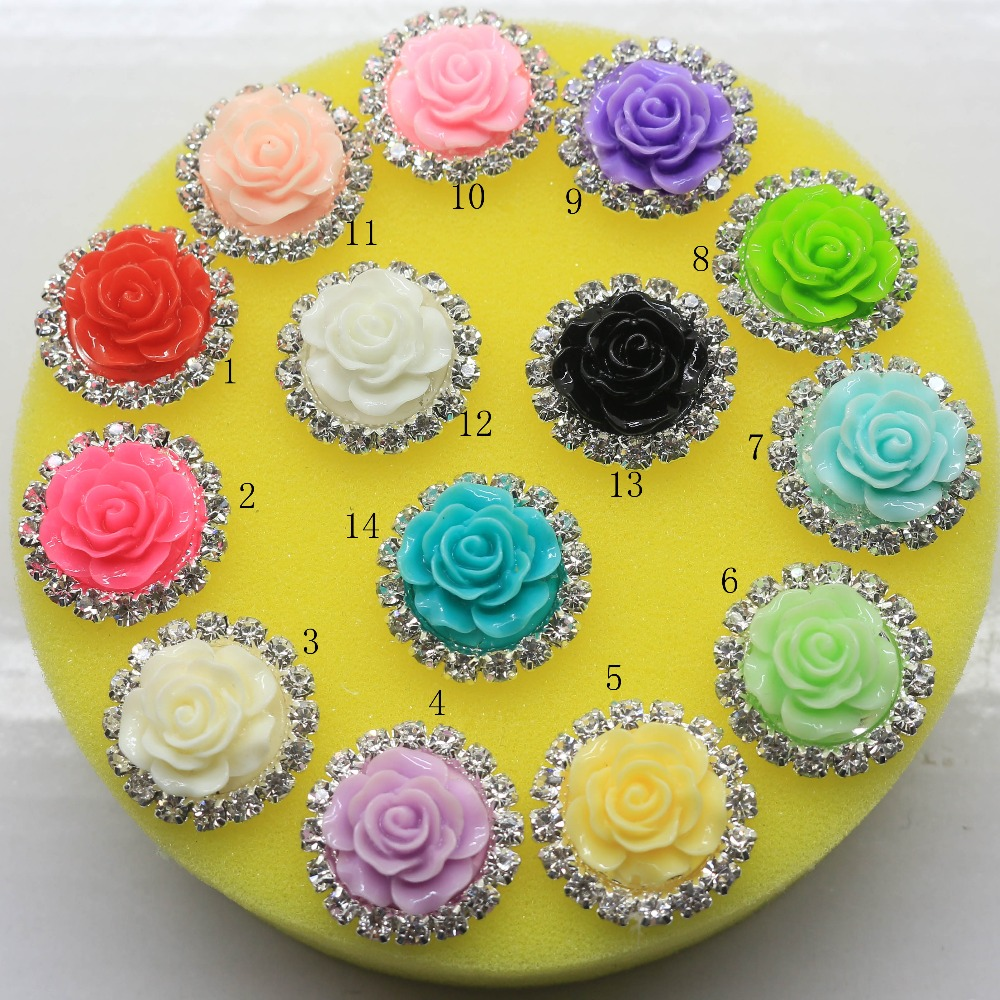 10pcs/lot 20MM Roses Resin Rhinestone button flatback mix color For craft supplies decorative buttons