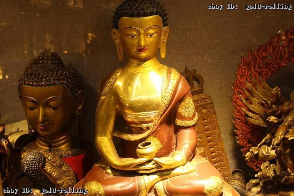 """Montre de mariage Décoration En Laiton Coppe vintage home decor 24 """"Bouddhisme Temple Folk Violet Bronze 24 K Or sakyamuni Bouddha Statue"""