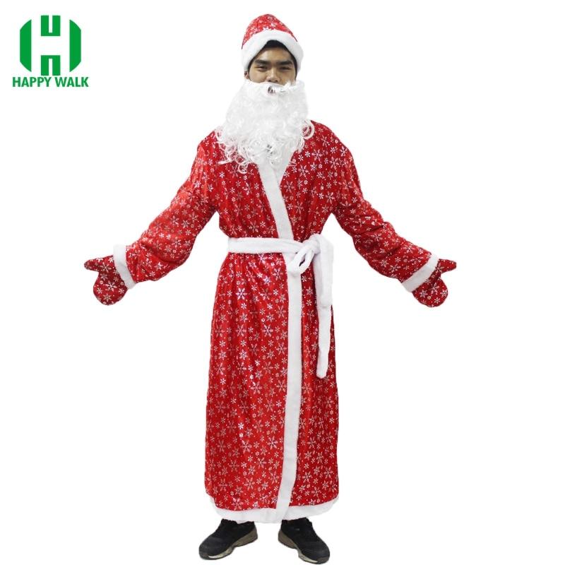 La russie De Noël Santa Claus Costume Cosplay Santa Claus Vêtements Fantaisie Robe Dans De Noël Hommes 5 pcs/lot Costume Costume Pour Adultes