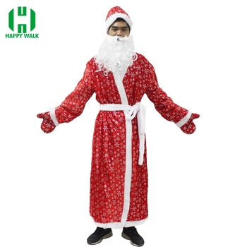 цена на Russia Christmas Santa Claus Costume Cosplay Santa Claus Clothes Fancy Dress In Christmas Men 5pcs/lot Costume Suit For Adults