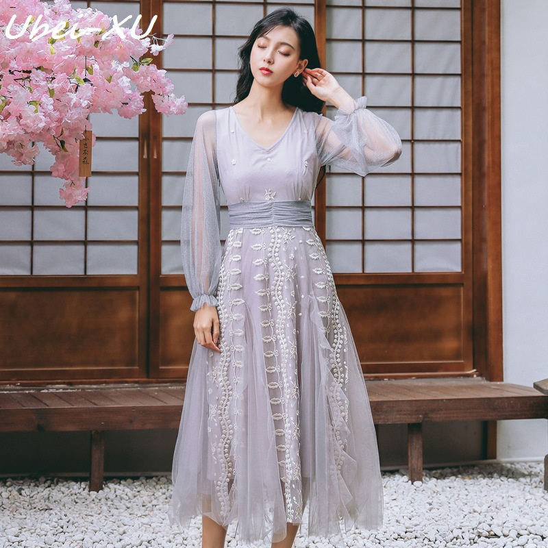 Ubei Summer/Spring V-neck heavy industry embroidered dress women Lace mesh stitching fairy purple long