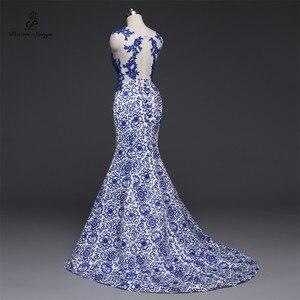 Image 3 - שירי שירים 2019New ארוך שמלת ערב vestido דה festa סקסי ללא משענת יוקרה כחול פורמליות המפלגה שמלה לנשף שמלות סין