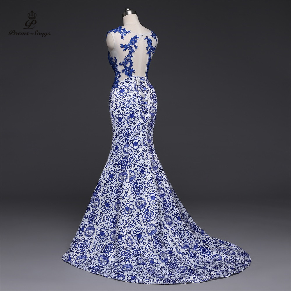 Poems Songs 2019New Long Evening Dress vestido de festa Sexy Backless Luxury Blue  formal party dress prom gowns China