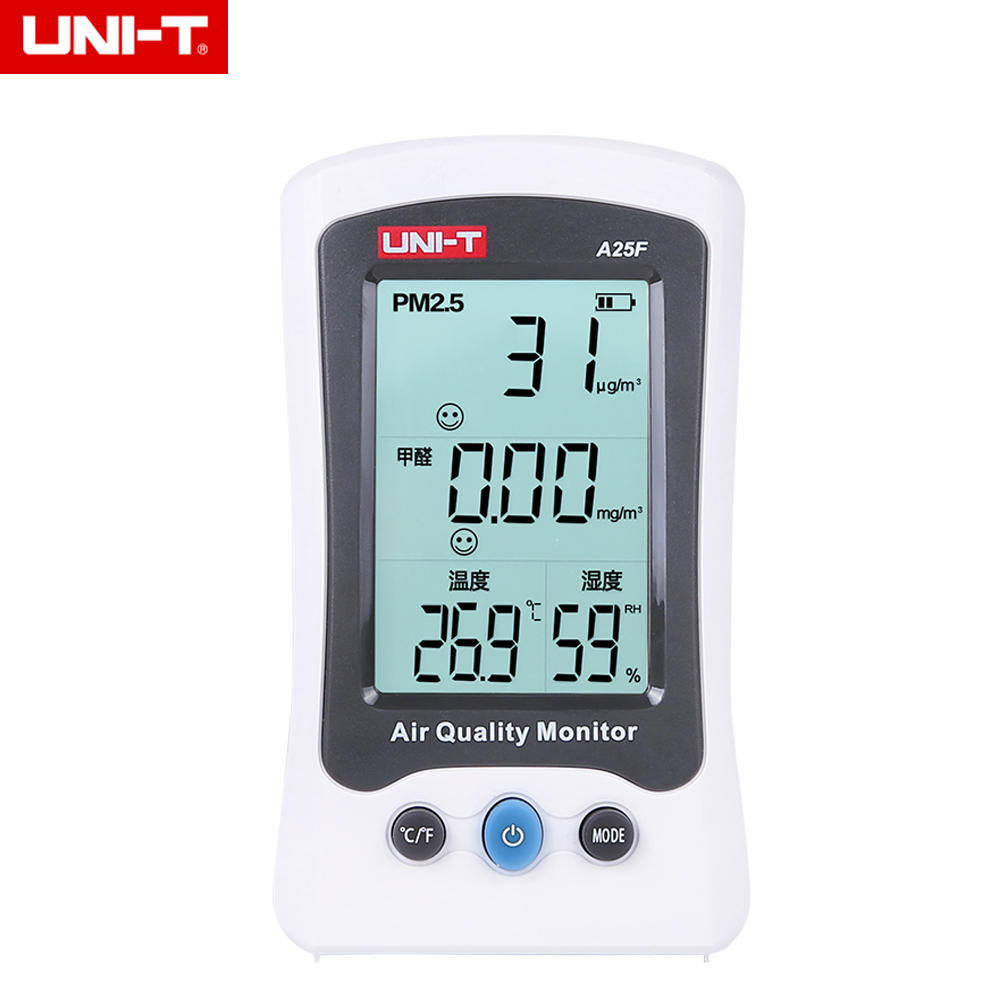UNI-T A25F Desktop Rechargeable Formaldehyde PM2.5 Detector Air Quality Measurement 0~500ug/Cubic pm2 5 detector uni t ut25m high precision laser pm2 5 air quality detection sensor module super dust dust sensors 0 500ug cubi