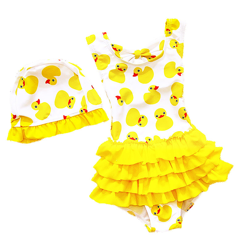 1-8 Years Old Kids Swimsuit For Girls Lovely Yellow Duck Bathing Suit Children Swimsuit Princess One Piece Swimwear Swimming Cap 1 8 years old kids swimsuit for girls lovely yellow duck bathing suit children swimsuit princess one piece swimwear swimming cap