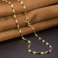 Fine Au750 Real 18K Yellow Gold Chain Women Clover Link Necklace 16inch 18inch
