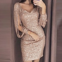 2019 New Fashion Sexy Women V Ncek Solid Sequined Glitter Stitching Shining  Club Sheath Long Sleeved 3aba6812e7af