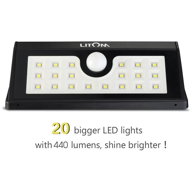 Litom Waterproof Weatherproof IP55 20 LED solar Light 2.2W Security Motion Sensor Light for Outside Wall Garden Yard Black